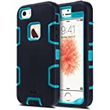 iPhone 5S Case, ULAK iPhone SE Case 3in1 Shockproof Combo Hybrid Hard Rigid PC + Soft Silicone Protective Case Cover for Apple iPhone SE/5S/5 (Black + Blue)