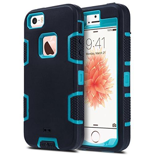 ULAK Coque iPhone 5S, iPhone Se Coque Housse Étui Hybride Couche 3 en Silicone et PC Rigide Anti Chocs & Absorption des Chocs Dur Coque pour Apple iPhone 5/5S/SE (Noir/Bleu)