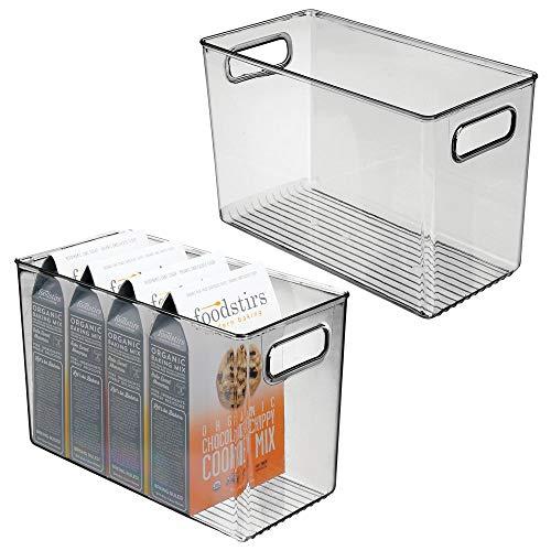 mDesign Juego de 2 fiambreras para el frigorífico - Cajas de plástico para guardar alimentos - Organizador de nevera para lácteos, frutas y otros alimentos - gris oscuro