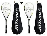 Dunlop - 2x Nanomax ti Raquetas Squash + bolas de 3 Calabaza