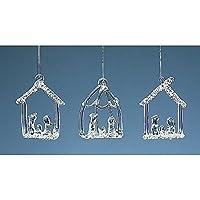 Set di tre Hanging vetro Presepe Decorazioni dell'albero di Natale