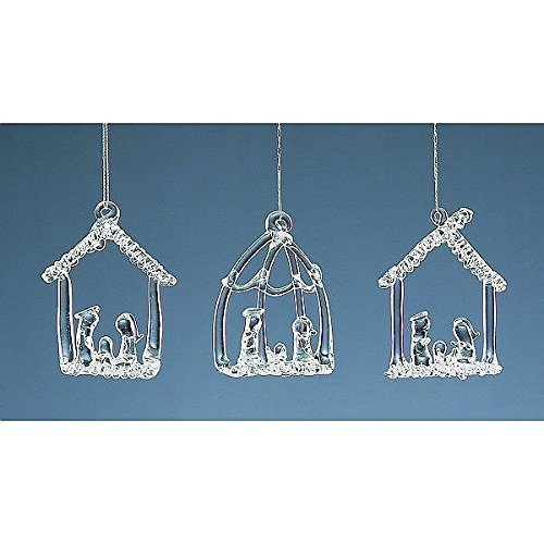 Set Of Three Hanging Glass Nativity Christmas Tree Decorations by Christmas Decorations - Christmas Tree Set Nativity