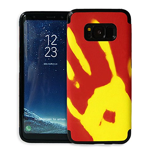 Galaxy S8 Plus Hülle ,Snewill Magic Heat-Sensitive 3 in 1 Case Color Changing Thermal Sensor Heat Thermal Induction Shockproof Protective Hard PC Cover Case for Samsung Galaxy S8 Plus (Rot zu gelb) Rot zu gelb