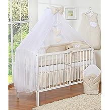 swb mosquitera para dosel de cama infantil diseo con corazones color beige