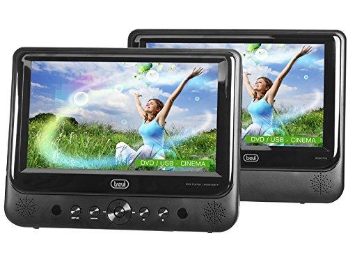 Trevi TW 7005 Lettore DVD Portatile con Due Display LED da 9 pollici con USB, SD, Due Staffe Poggiatesta