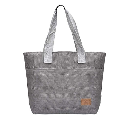 Manadlian Lunch Bag, Cute Reusable Insulated Portable Food Zipper Bags Lunch Bags Convenient Lunch Packet for Picnic (31*11*23cm, Gray)