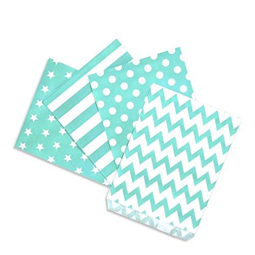 100 Papiertüten Mix türkis, 4 Designs zu je 25 Stück / Geschenktüten / Candy Paper Bags