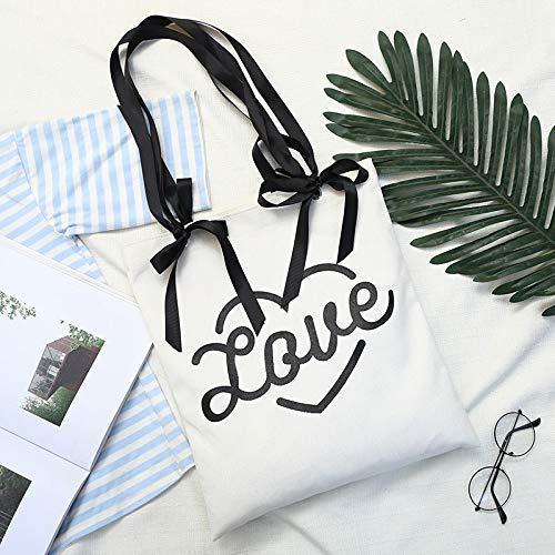 Beiläufige Tasche Weibliche Liebe Band Bogen Hohe Kapazität Leinwand Umhängetasche Licht Datei Handtasche (Weiß) -