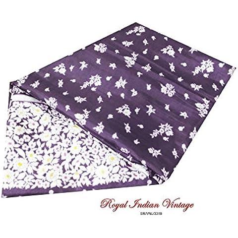 annata saree tessuto utilizzato indiano riciclato viola floreale stampato decorazione della casa di arte tenda di seta drappo 5YD sarong arte artigianato tessuto saree cucito delle donne del vestito artigianale Vestito a portafoglio - Arte Seta Tende