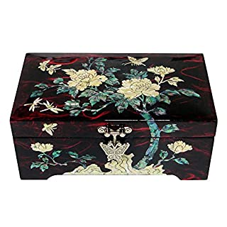 Mother of Pearl Inlay Flower Asian Lacquer Wood Women Lady Jewellery Ring Earrings Necklace Brooch Keepsake Trinket Treasure Gift Box Case Chest Organizer Storage
