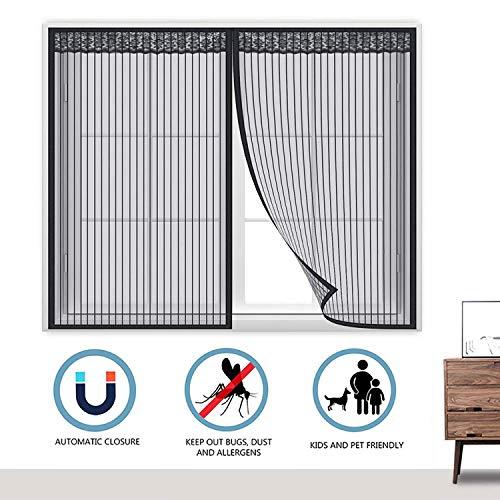 GOUDU Fenster Magnet Fliegenvorhang, Insektenschutz Fenstervorhang Klebestreifenhalten Innen Klebestreifenhalten Innen Klebmontage Schiebe Dach - Schwarz 65x125cm(WxH)
