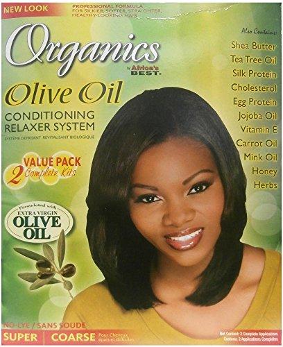 Relaxer / Glättungscreme Africa's Best Organics Olive Oil 2x Complete Kits Relaxer SUPER / COARSE - Relaxer Kit Super