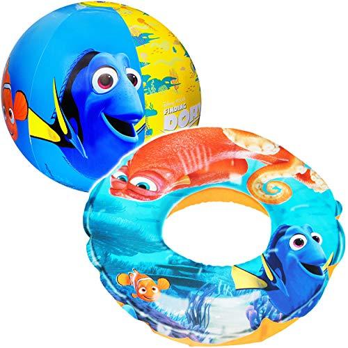 alles-meine.de GmbH Set: Schwimmring & Strandball - aufblasbar -  Disney Findet Nemo  - 2 bis 6 Jahre - Schwimmreifen & Schwimmhilfe - für Mädchen & Jungen - Kinder Luft / Stra.. -