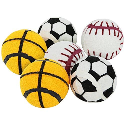com-four® 6X Hundeball zum Apportieren und Toben, Spielball in verschiedenen Designs, 6cm (06 Stück - Ball Sport)