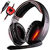 PC Gaming Headsets ,SADES SA902 USB Gaming Headphone 7.1 Virtual Sound Over-ear Headphone with Microphone In-line Volume Control LED Light (Red)