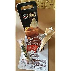 Confezione Parmigiano-Reggiano DOP 24 mesi con assaggio Condimento Balsamico 6 anni invecchiamento e strolghino di culatello - TastyParma RED&GOLD