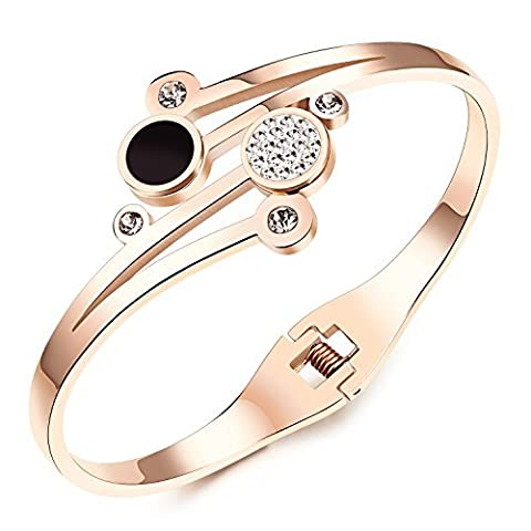 Fille Era Amour rencontre Cristal Plaqué Or Rose Base Princess Cuff Bracelet, 17 cm