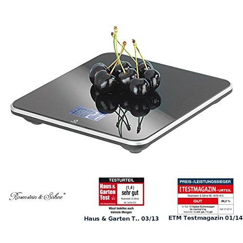 Rosenstein & Söhne Feinwaage: Präzise Digital-Küchenwaage, bis 3 kg, Glasoberfläche, Touch-Sensor (Digitale Feinwaagen)