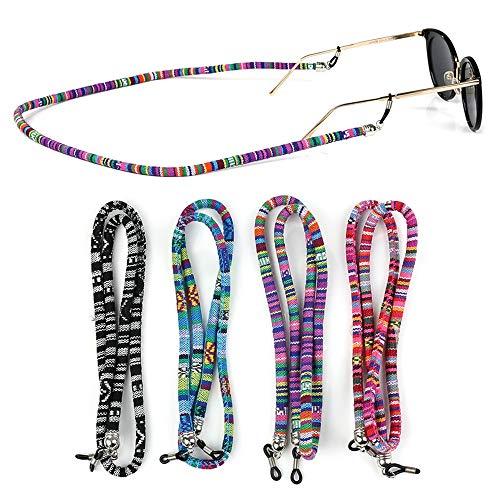 Crazy-m 4 STK Buntes Brillenband für Sonnenbrille und Lesebrille Brillenschnur Brillenkordel Brillenbändel Brillenkette Brillen Halter Kette Schnur Lanyard