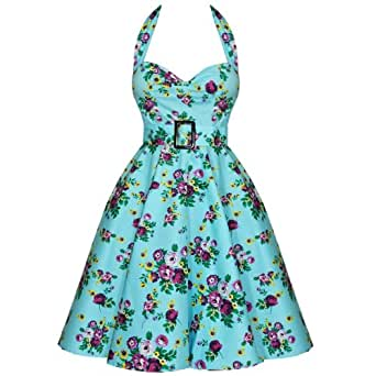 Hell Bunny May Day 50's Dress Floral Blue - Size UK 8 (XS)