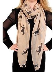 Calonice Amorino Femme Foulard kaki brun beige noir Imprimé 100% Polyester 100x180 cm (LxH) 21000