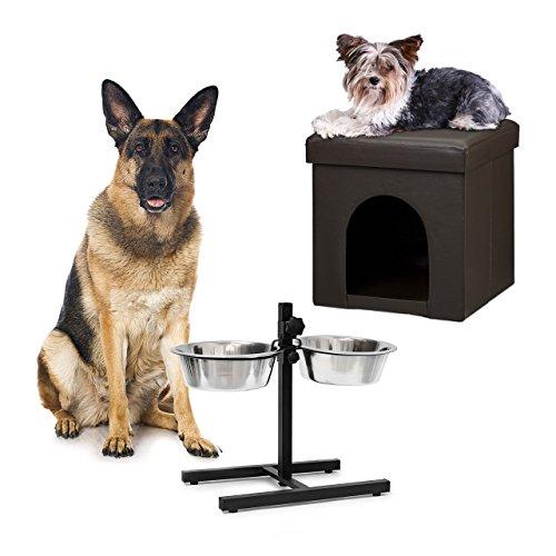 2 tlg Set Home Sweet Hund Deluxe XL, Hundebox braun, Sitzhocker mit Tierhöhle, Doppelnapf höhenverstellbar - Großer Hund-wasser-station