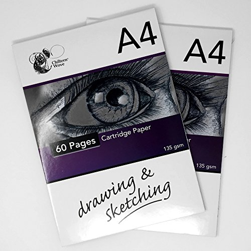 80Blatt A4-Zeichenpapier mit 135g/m², 2Packungen mit je 40 Blatt