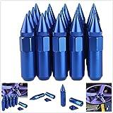 20Stück M12x 1,5Spikes Aluminiumlegierung Auto Rad Verlängerte Tuner-Öse Muttern/Felgen 60mm, blau