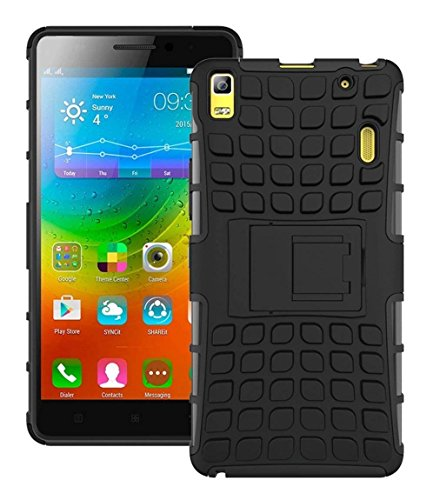 Msonic Cover, Shockproof Slim Rugged Hybrid Kickstand Back Cover Case for Lenevo K3 Note (Black)