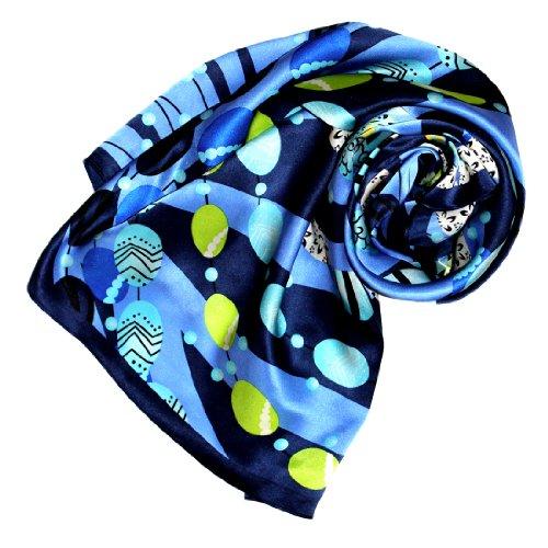 Lorenzo Cana Luxus Seidentuch aufwändig bedruckt Tuch 100% Seide 90 cm x 90 cm harmonische blau Farben Damentuch Schaltuch 89028 -