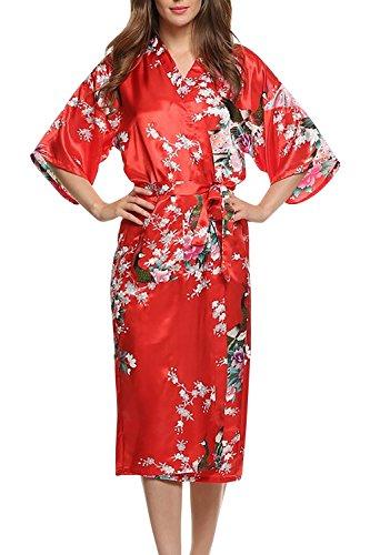 Dolamen Damen Morgenmantel Kimono, glatte Satin Nachtwäsche Bademantel Robe mit Peacock und Blume Kimono Negligee Seidenrobe locker Schlafanzug, Langer Stil (Medium, Rot)