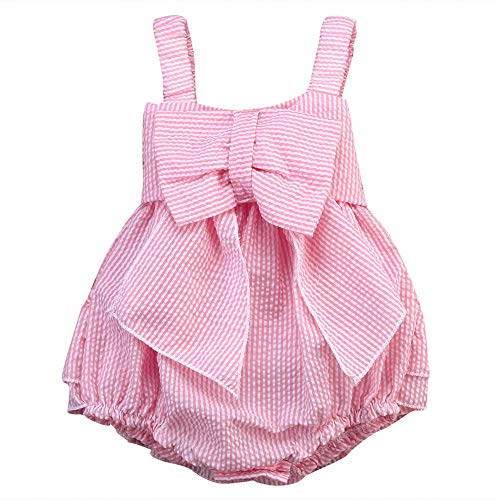 Fußball Kostüm Einfache Spieler - Wang-RX Pink Infant Kids Baby Mädchen ärmellos gestreiften Bogen Strampler breite Schultergurte Overall Outfits 0-24M