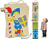 Unbekannt Meßlatte Holz - Ritter und Drache Zum Klappen / Falten - Messlatte Kinderzimmer Holzmeßlatte für Kinder Kind Ritterburg Holzmeßlatte Drachen