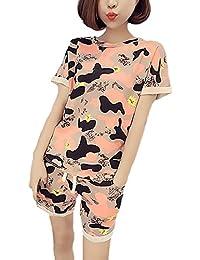 Pijamas Mujer Verano Elegante Manga Corta Cuello Redondo Camison Camisones Sleepwear Camisetas Tops+Shorts Dos