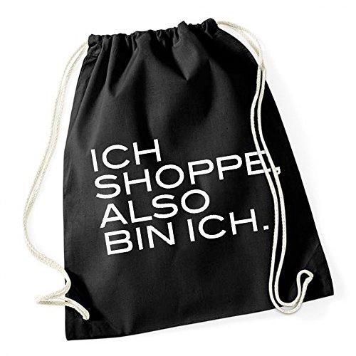 Ich Shoppe Also Bin Ich Gymsack Black Certified Freak (Barcelona Gym Sack)