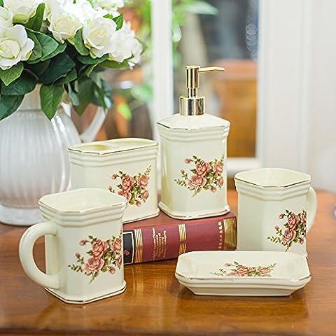 qwer Creative continental de 5 piezas de cerámica en los baños baño vanidad kit kit Copa paquete de bodas , kit de aseo