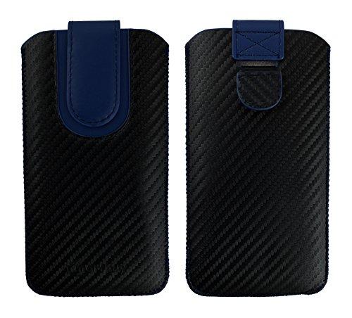 Emartbuy® Schwarz/Blau Premium PU Leder Carbon Fibre Finish Slide in Pouch Case Cover Hülsenhalter Hulle (Größe LM4) mit Pull Tab Mechanismus Geeignet Für Smartphones Aufgeführt - T-mobile Case Galaxy S2