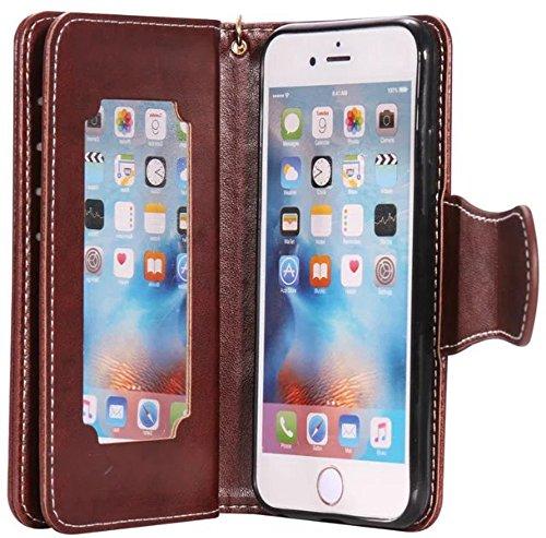 Nnopbeclik Coque Apple Iphone 6 / 6S antichoc [New] Mode Fine Folio Wallet/Portefeuille en Bonne Qualité PU Cuir Housse pour Iphone 6 Coque Cuir / Iphone 6S Coque Apple (4.7 Pouce) élégant Fille Style café-marron