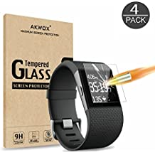 Akwox [Lot de 4] Verre Trempé Fitbit Surge, Film de Protection d'Écran HD Dureté 9H Anti Rayures sans Bulles d'air Film Protecteur en Verre trempé pour Fitbit Surge Montre de Fitness