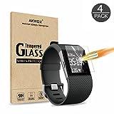 Akwox 4 Stück Schutzfolie für Fitbit Surge 9H Härtegrad Panzerglasfolie 0.3mm Kratzfest HD Glasfolie