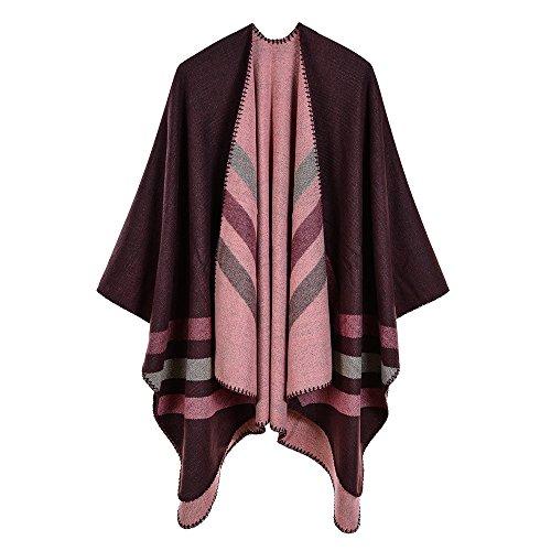 Trim Knit Cardigan (ZUZHEN Women es Shawl Golden Trim Knit Blanket Wrap Fringe Poncho Coat Cardigan,D)