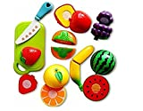 Kiditos Realistic Sliceable 7 Pcs Fruits Cutting Play Toy Set With Velcro
