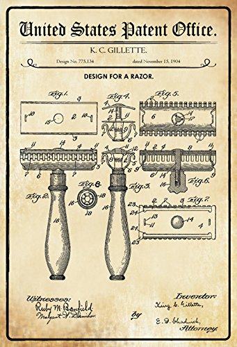 Schatzmix United States Patent Office - Design for A Razor - Entwurf für Eine Rasierer - Gillette, 1904 - Design No 775.134 - Blechschild
