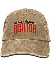 Wfispiy Sombrero del Dril de algodón del Gran Agente inmobiliario del Mundo  Unisex Ajustable Grandes Gorras 1ab025779b6