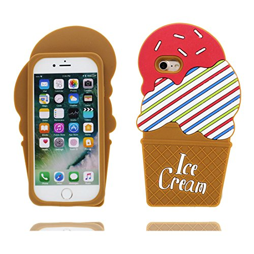 iPhone 6s Custodia, | TPU Gel Gel gommino morbido flessibile di Case ultra sottile sottile | Cover Copertura per iPhone 6S / 6 (4,7 pollici) - ( Cartoon 3D Marrone Stripe Gelato ) Marrone