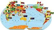 SUPERIMIO Large Size World Map Flag Matching Puzzle Geography Educational Toy Gift for Kids (Large)