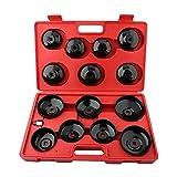 15PCS Universal Kit de Llave de Filtro de Aceite Set de Herramientas de Cambio de Filtro de Aceite