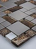 Mosaikmuster Glasmosaik Mosaikfliesen Edelstahl Gold Braun Getönten Schwarz Silber 15x15cm