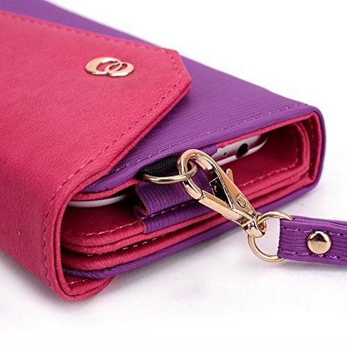 Kroo Lien série universel Portefeuille pour femme avec bracelet sac à bandoulière Compatible avec Prestigio MultiPhone 5044Duo/Prestigio MultiPhone 5500DUO Étui pour téléphone portable Multicolore - Multicolore - Purple and Magenta