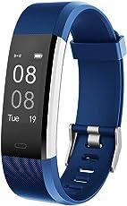 YAMAY Fitness Armband mit Pulsmesser Wasserdicht IP67 Fitness Tracker Aktivitätstracker Pulsuhren Smartwatch Schrittzähler Uhr Vibrationsalarm Anruf SMS Whatsapp Beachten für iPhone Android Handy